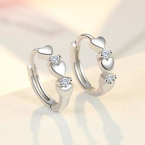 New Sterling Silver 925 Heart Huggie Hoop Earrings